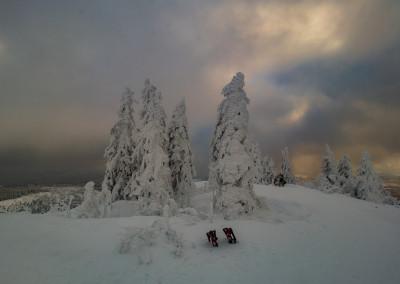 Auf dem Gipfel des Lusen im Winter Bayerischer Wald