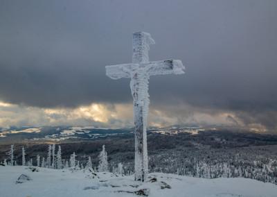 Lusen Gipfel Winter Nationalpark Bayerischer Wald